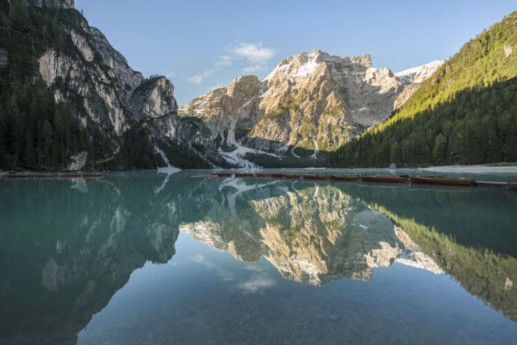 lake in the dolomites mountains